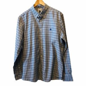 BROOKS BROTHERS Blue Plaid Button Up Dress Shirt L